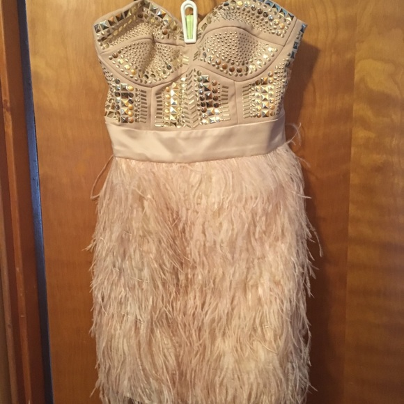 bebe Dresses & Skirts - Feather Dress!